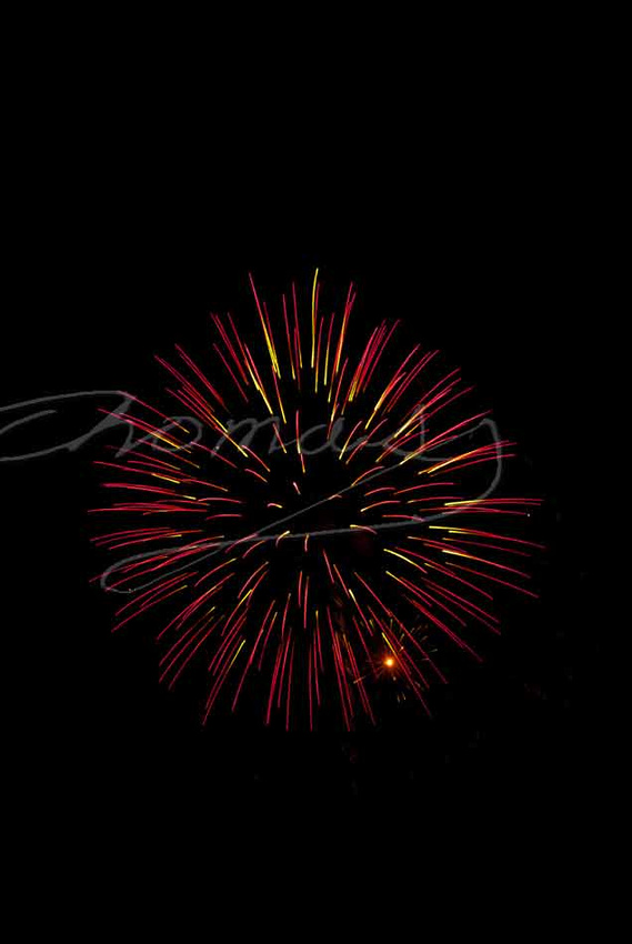 Fireworks spray display, lower exposure hides tail from shell. Thomas Haynes Photo