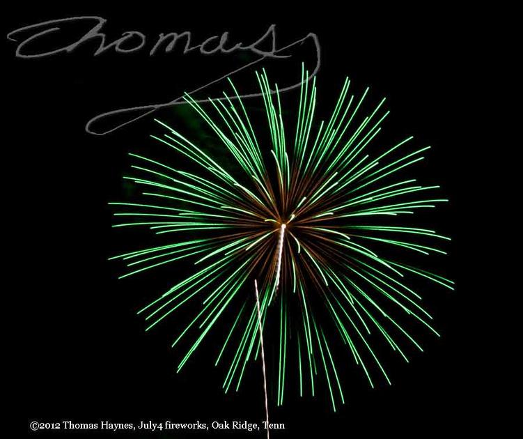 Single green pyro technic blast, July 4, 2012